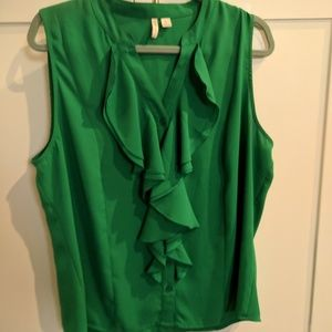 Cato Tops - Sleeveless Green top with ruffles